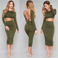 Two Piece Olive Dress
