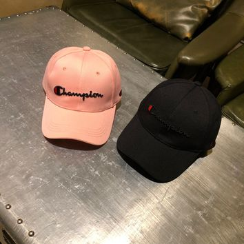 """""""Champion"""" Unisex Simple Fashion Letter Embroidery Flat Cap Baseball Cap Couple Casual All-match Sun Hat"""