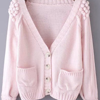 Pink V Neck Twisted Ball Pockets Knit Long Sleeve Sweater