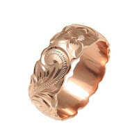 14K PINK ROSE GOLD HAND ENGRAVED HAWAIIAN PLUMERIA SCROLL BAND RING CUT OUT 8MM