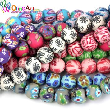OlingArt 12MM 30pcs Mixed Colors Flower Soft ceramic Polymer Clay Jewelry Beads DIY earring Bracelet necklace jewelry making
