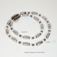 Magnetic Anklet Bracelet with High Power Silver Twist Beads White Rainbow with 5000 Gauss Clasp