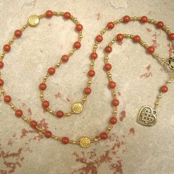 Medb (Maeve) Prayer Bead Necklace in Red Jasper: Irish Celtic Goddess of Sovereignty, Intoxication
