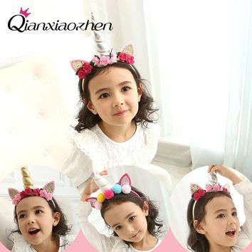 Qianxiaozhen Unicorn Horn Hairband Baby Hair Band Unicorn Party Decoration Birthday Party Decorations Kids Hair Accessories