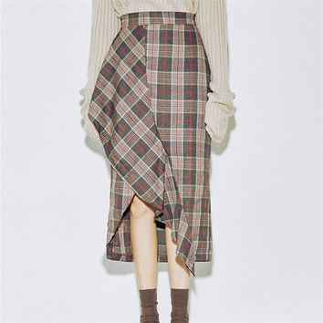 Women New Autumn Skirt Mid-calf A-line Skirt Female Fashion Maxi Plus Size Plaid Skirt Hot  72250 SM6