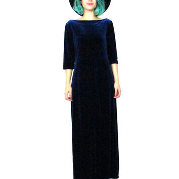 Vintage 90s Blue Velvet Maxi Dress Witchy Goth Grunge Stretchy 3/4 Sleeve Floor Length Evening Dress (L)