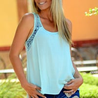 BY THE BEACH CROCHET TANK IN SKY BLUE