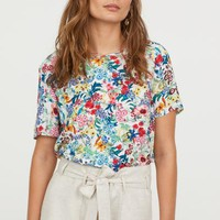 Crêpe top - White/Floral - Ladies | H&M GB
