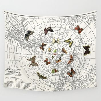 Butterfly Map Wall Tapestry,  New Fabric wall art, retro, butterflies, map dorm decor