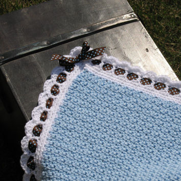 Handmade Crocheted Heirloom Baby Blanket, Baby Blue w/ White Border, Dark Brown Ribbon w/ Baby Blue Polka Dots