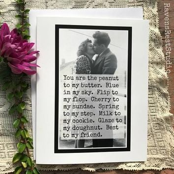 You Are The Peanut To My Butter Blue In My Sky Funny Vintage Style Anniversary Card Valentines Day Card Love Card FREE SHIPPING