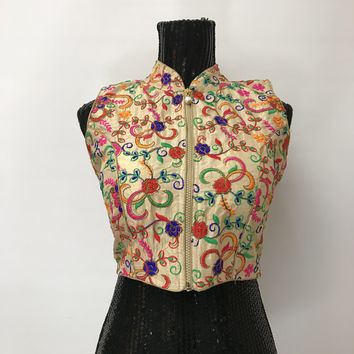 Embroidered Front Zipper Blouse