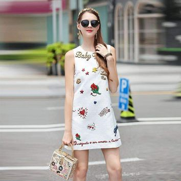 Beading Sequins Jacquard Floral Print Sleeveless A-Line Mini Dress