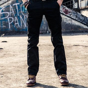 Men Cargo Pants Zipper New Fashion Men Military Cargo Pants Multi Pockets Straight Casual Trousers Home
