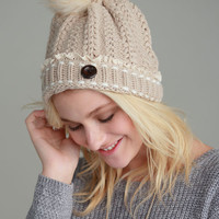 Braided Knit & Lace Pom Pom Hat