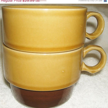 On Sale Genuine Ekco Stoneware Lugaro Japan Mug Cup Matching Set of 2 Ovenproof Dishwasher Safe Stackable Vintage Kitchenware