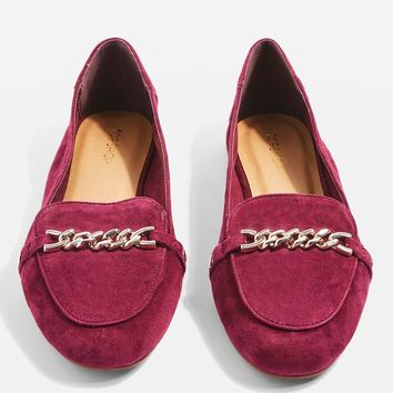 LOCO Chain Trim Suede Loafers | Topshop