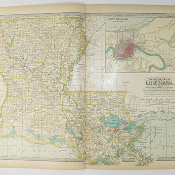 Vintage Map Louisiana 1899 Gulf Coast State Map, Antique Louisiana Map, New Orleans LA Map, Louisiana Wedding Gift for Couple, LA Art Gift