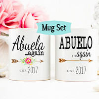 Abuela mug Again, Abuelo Again mug, Grandparents mug, Pregnancy Reveal Mug, New Grandparents, Baby Announcement, Gift for Grandparents