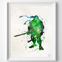 Leonardo Print, Teenage Mutant Ninja Turtles, Watercolor Art, Type 2, Illustration, Watercolour, Giclee Wall, Comic, Christmas Gift