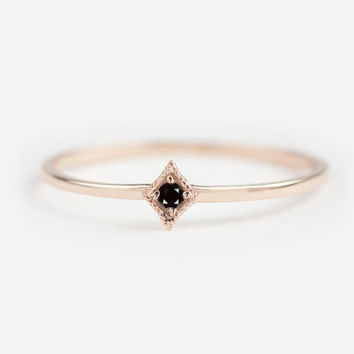 Tiny black diamond 14k rose gold ring, dainty rose gold stack ring, natural black diamond ring, gold, rose gold, white gold option