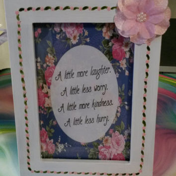 Up-Cycled Cottage Chic Hand Painted Positive Saying Picture Frame in Pink and Blue