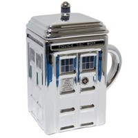 Dr Who Silver Ceramic Tardis Mug with Lid