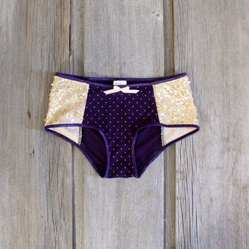 Sequin 'Dusk' Plum Purple and Gold Dot Hipster Boyleg Knickers Handmade to Order in your Measurements