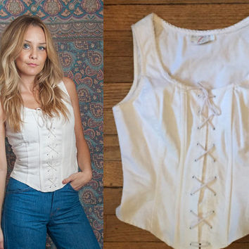 80s White Denim Corset Tank Top Vest | Boho Bustier Lace-up Fitted Boned Biker Sexy Western Festival Hippie 70s Party 90s Grunge Blouse