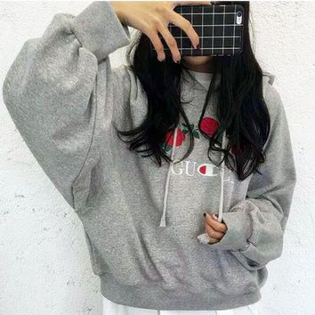 GUCCI Fashion Casual Embroidered Rose Flower Hoodie Sweatershirt Grey