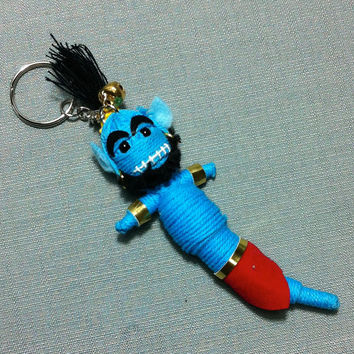 Genie Magical Animated Film Aladdin String Voodoo Doll Funny Keyring Keychain Key Ring Chain Bag Car Decor Wedding Favours Bike Charm Cute
