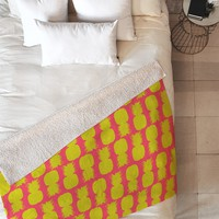 Allyson Johnson Neon Pineapples Fleece Throw Blanket