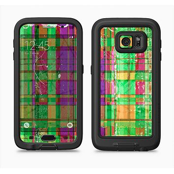 The Purple and Green Plad with Floral Pattern Full Body Samsung Galaxy S6 LifeProof Fre Case Skin Kit