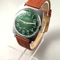 "Vintage men's "" ZIM""  (ZIM-Pobeda ) wristwatch.Lovely green dial, mechanical Soviet watch, comes with brand new leather band."
