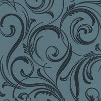 Sample of Swurly Wurly Tease Wallpaper in Blue and Pale Green by Laurence Llewelyn-Bowen for Graham & Brown