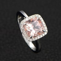 Limited Time Sale: 1.25 Carat Cushion Cut Peach Pink Morganite and Diamond Halo Engagement Ring in 10k White Gold for Women on Sale