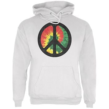Rasta Tie Dye Peace Sign Distressed Halftone Mens Hoodie