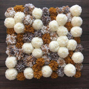 Pom pom rug yarn pom pom newborn photography props accent rug nursery decor nursery rug bohemian rug floor rug wood floor pom pom wall hang