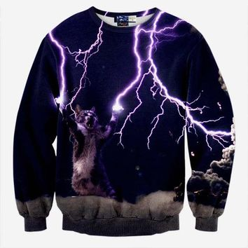 3d Sweatshirts Print Cat Lightning