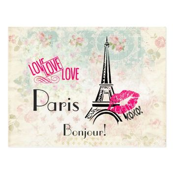 Love Paris with Eiffel Tower on Vintage Pattern Postcard