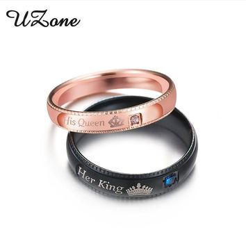 Cool UZone Promise Couple Rings Her King & His Queen Crown Charm Letter Ring For Women Men Anel MasculinoAT_93_12