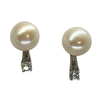 Sterling Silver Cultured Freshwater Pearl Stud Earrings w/CZ Earring Jackets (9mm)