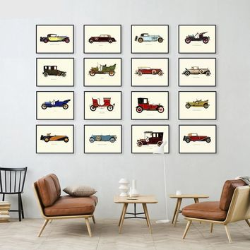 Retro Vintage Rod Cars Collection Canvas Print - Wall Art Decor