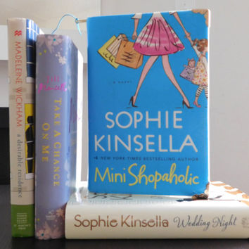 Blue Book Clutch Sophie Kinsella - Mini Shopaholic with Korea Cotton and Blue Gold Brass Jacket Zipper/ Book Clutch/ Book Purse