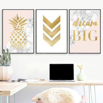 Unframed 1 piece Geometric Pineapple Marble Wall Art Posters And Prints Canvas Painting Modern Wall Pictures For Living Room Can