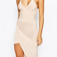 Club L Cross Front Dress with Asymmetric Hem
