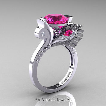 High Fashion Nature Inspired 14K White Gold 3.0 Ct Pink Sapphire Diamond Marquise Eye Engagement Ring R359S-14KWGDPS