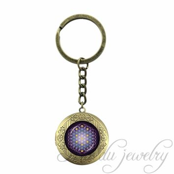 Key Chain Ring Flower Seed of Life Locket Pendant Mandala Flower Keychain Women Spiritual Metaphysical Sacred Yoga Key Chains
