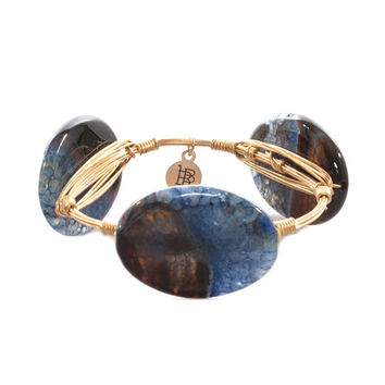 Bourbon & Boweties Smooth Royal & Chocolate Oval Bangle
