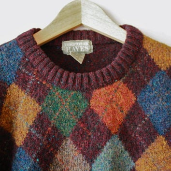 Speckled Purple Maroon Argyle Shetland Wool Sweater Large Holiday Gift for Him
